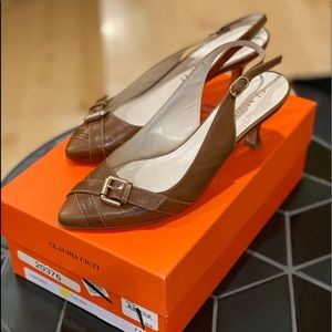 CLAUDIA CIUTI Vanessa Shoe in Tan Kid, Size 7